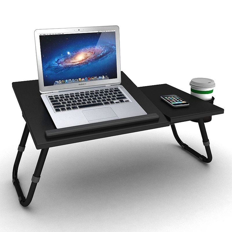 Atlantic 17-in. Laptop Tray, Black This Atlantic laptop tray makes your laptop happy. In black. : Adjustable legs and tabletopoffer perfect positioning. Side platform holds mouse. Cup holder adds convenience. PVC finish makes cleaning easy. : Fits most laptops with up to a 17-in. screen 10H x 13 3/4W x 27D PVC/MDF/metal Assembly required Manufacturer's 1-year limited warrantyFor warranty information please click here Model no. 33935843 Size: One Size. Gender: Unisex. Age Group: Adult.
