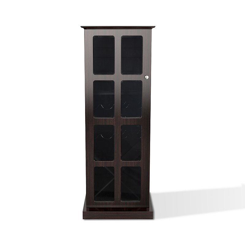 Atlantic Windowpane 24-Bottle Wine Cabinet, Brown
