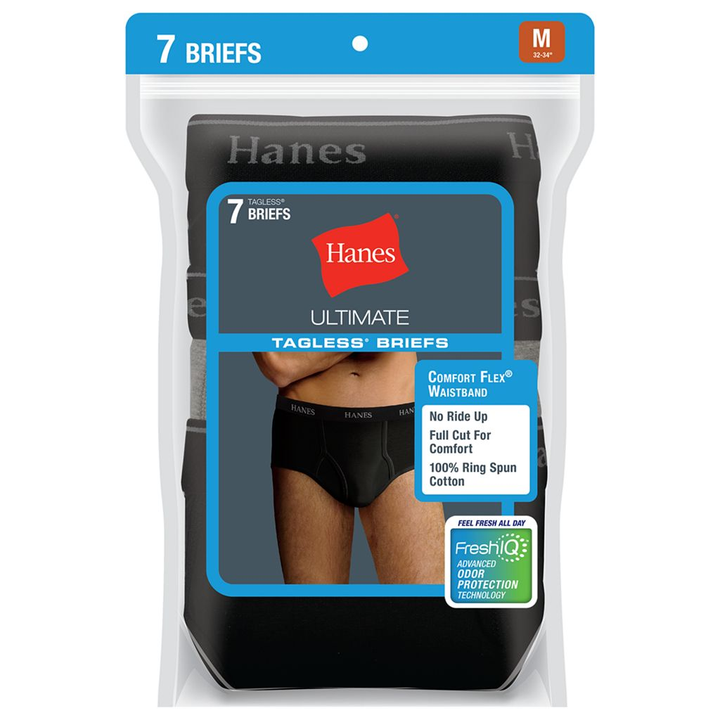 Men's Hanes Classics 7-pk. Full-Cut Black Briefs
