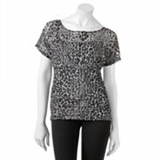 HeartSoul Animal Lace Mock-Layer Top - Juniors
