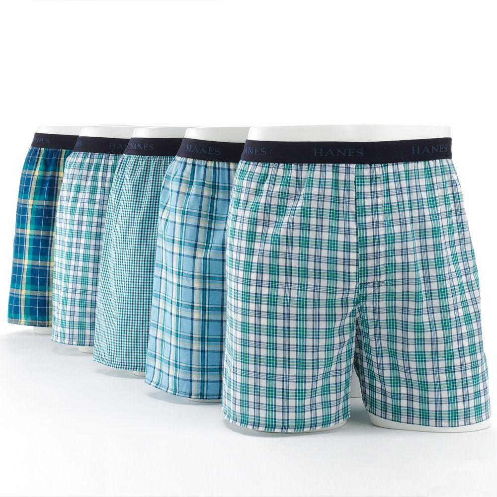 Men's Hanes® Classics 5-pk. Plaid Woven Boxers