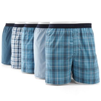 Men's Hanes Classics 5-pk. Full-Cut Plaid Woven Boxers