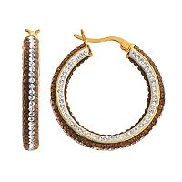 18k Gold Over Brass Crystal Striped Hoop Earrings