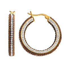 18k Gold Over Brass Crystal Striped Hoop Earrings