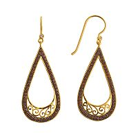 18k Gold Over Brass Crystal Scrollwork Teardrop Earrings