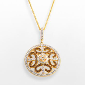 18k Gold Over Brass Crystal Openwork Medallion Pendant