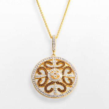 18k Gold Over Brass Crystal Openwork Medallion Pendant