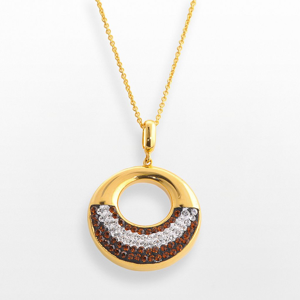 18k Gold Over Brass Crystal Circle Pendant