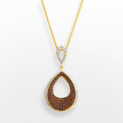 18k Gold Over Brass Crystal Teardrop Pendant