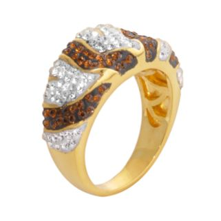 18k Gold Over Brass Crystal Striped Concave Ring
