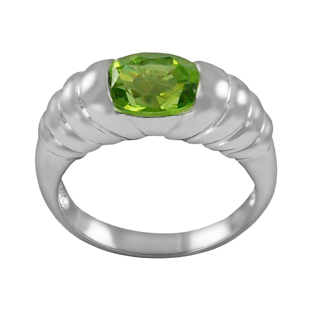 Sterling Silver Peridot Ribbed Ring