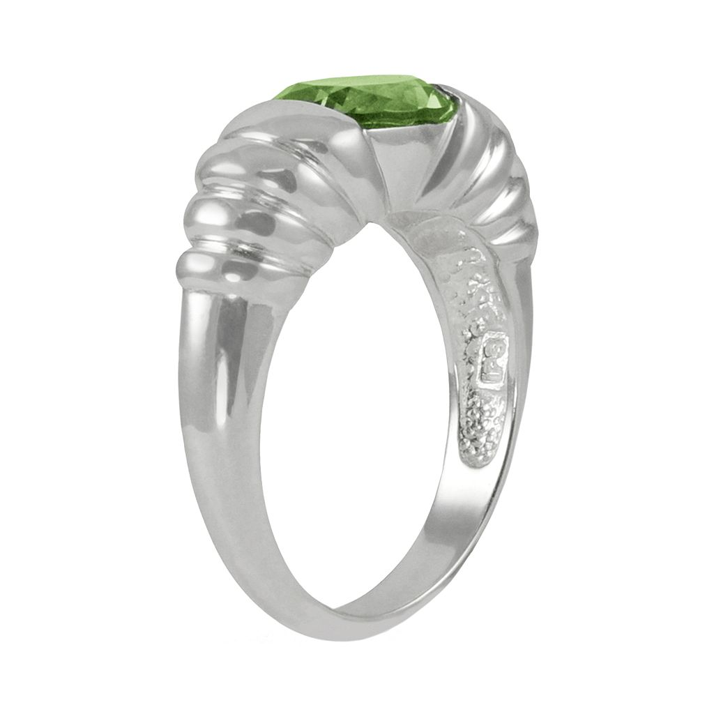 Sterling Silver Peridot Ribbed Ring