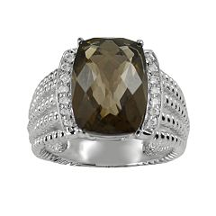 Sterling Silver Smoky Quartz & White Topaz Twist Multirow Ring