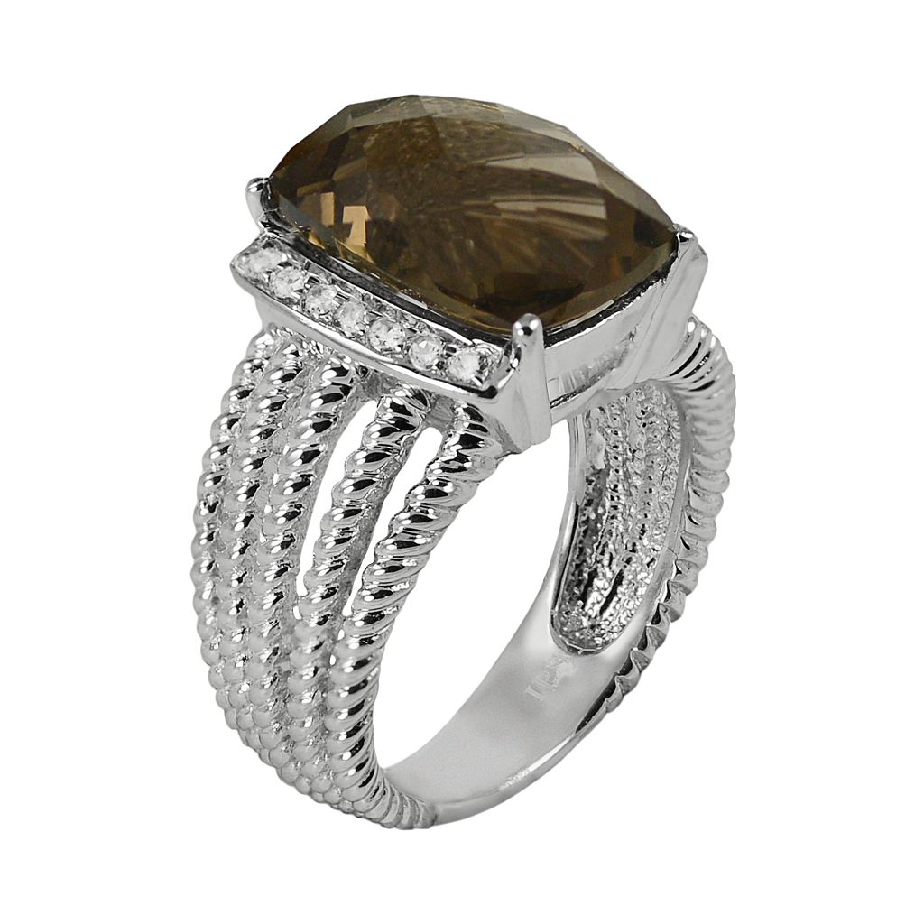 Sterling Silver Smoky Quartz and White Topaz Twist Multirow Ring