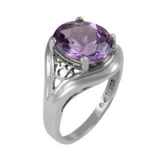 Sterling Silver Amethyst Filigree Ring