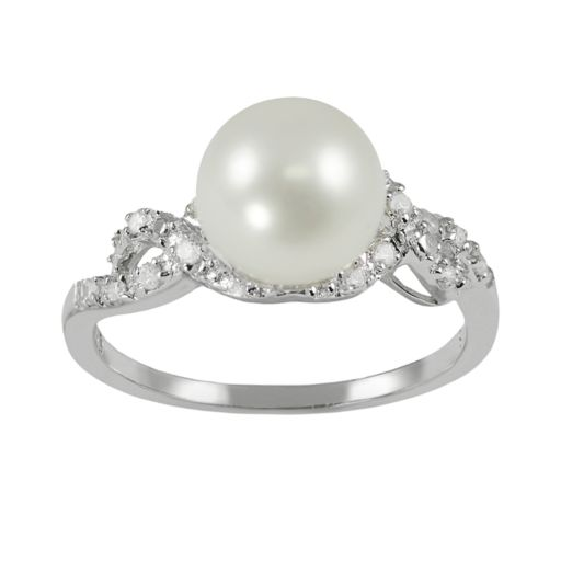 Sterling Silver 1/8-ct. T.W. Diamond and Freshwater Cultured Pearl Ring