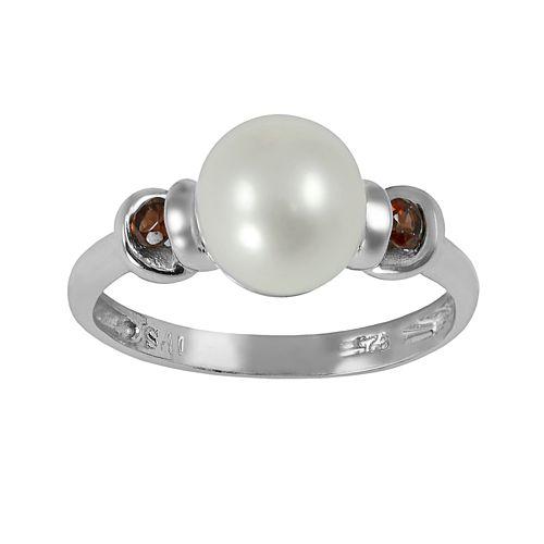 Sterling Silver Freshwater Cultured Pearl & Garnet Ring