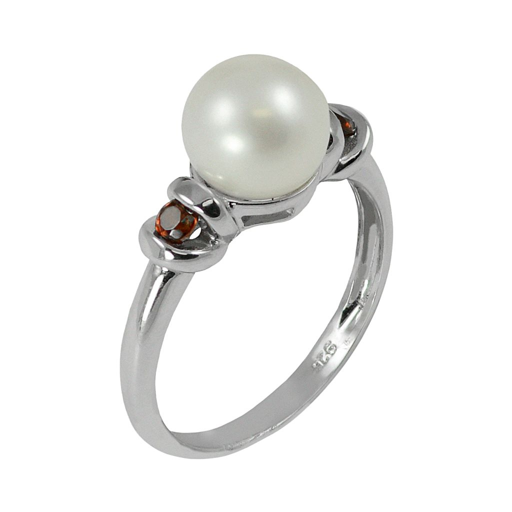 Sterling Silver Freshwater Cultured Pearl and Garnet Ring