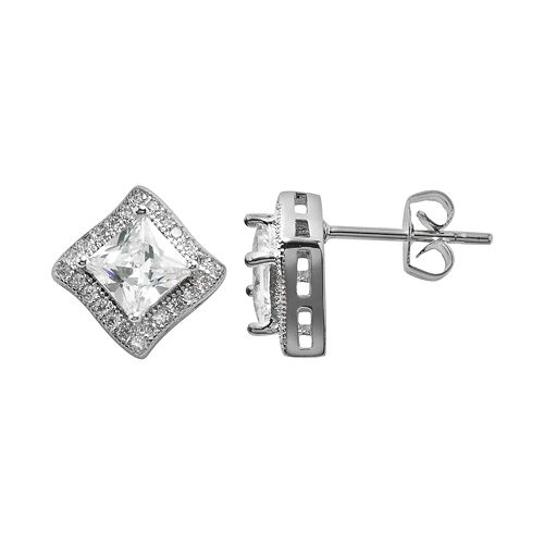 The Silver Lining Silver Plated Cubic Zirconia Curved Square Frame Stud Earrings