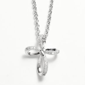 The Silver Lining Silver Plated Cubic Zirconia Ribbon Cross Pendant