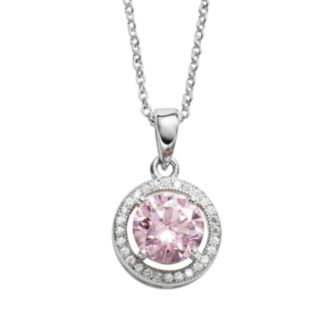The Silver Lining Silver Plated Pink and White Cubic Zirconia Halo Pendant
