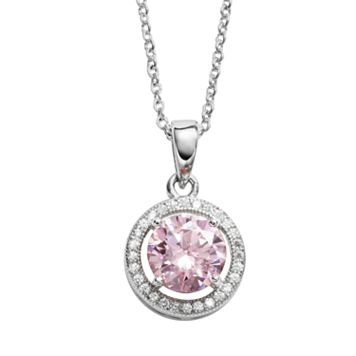 The Silver Lining Silver Plated Pink & White Cubic Zirconia Halo Pendant