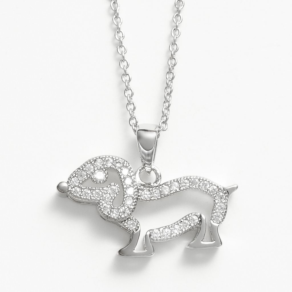 The Silver Lining Silver Plated Cubic Zirconia Dog Pendant