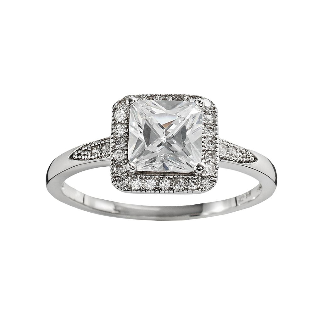 The Silver Lining Silver Plated Cubic Zirconia Square Frame Ring