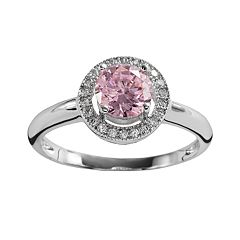 The Silver Lining Silver Plated Pink & White Cubic Zirconia Halo Ring