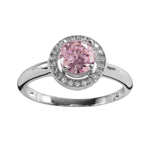 The Silver Lining Silver Plated Pink and White Cubic Zirconia Halo Ring