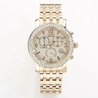 Drive from Citizen Eco-Drive Rose Gold Tone Stainless Steel Crystal Chronograph Watch - Made with Swarovski Elements - FB1293-50A - Women