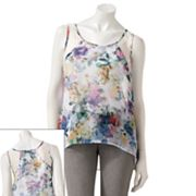 Kandy Kiss Floral Hi-Low Sheer Tank - Juniors