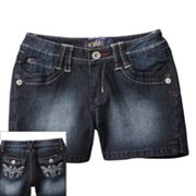 Angels Embroidered Denim Shorts - Girls 7-16