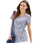 Jockey Scrubs Printed Faux-Wrap Top