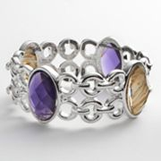 Napier Silver Tone Simulated Abalone Stretch Bracelet