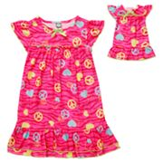 Dollie and Me Peace Sign and Heart Nightgown Set - Girls 4-10