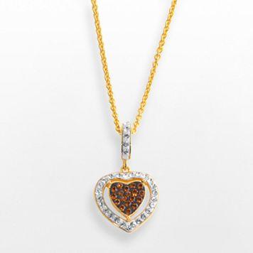 18k Gold Over Brass Crystal Heart Frame Pendant