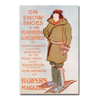 ''On Snow Shoes, 1899'' 16'' x 24'' Canvas Art by Caspar Whitney