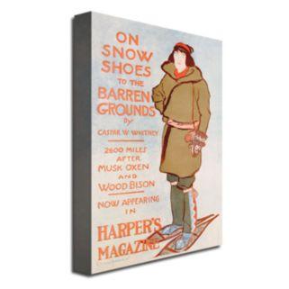 ''On Snow Shoes, 1899'' 30'' x 47'' Canvas Art by Caspar Whitney