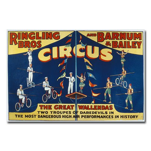 """Ringling Brothers and Barnam & Bailey Circus"" 30"" x 47"" Canvas Art"
