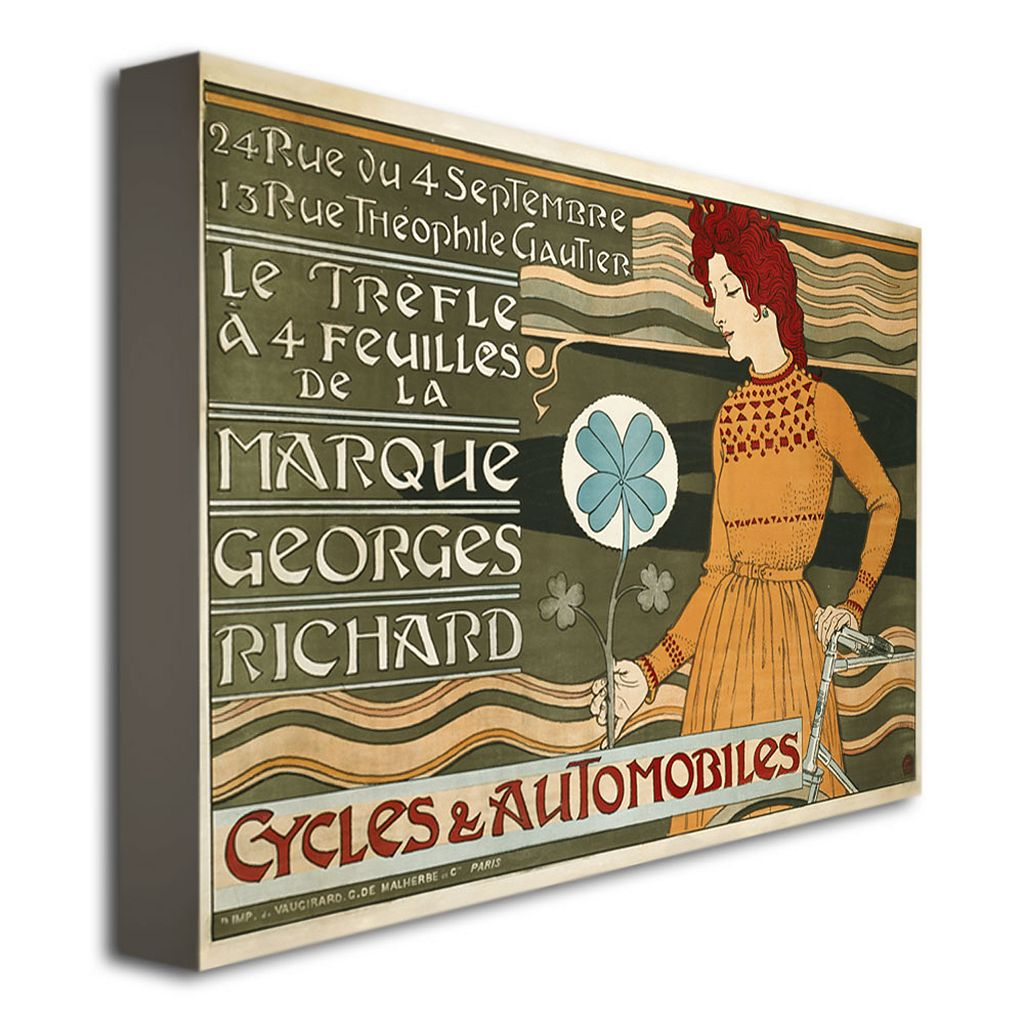Marque Georges Richard Cycles and Automobiles 22'' x 32'' Canvas Art by Eugene Grasset