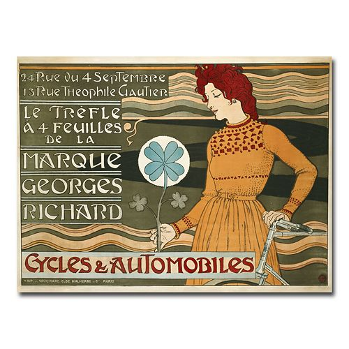 """Marque Georges Richard Cycles & Automobiles"" 35"" x 47"" Canvas Art by Eugene Grasset"