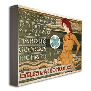 Marque Georges Richard Cycles and Automobiles 35'' x 47'' Canvas Art by Eugene Grasset