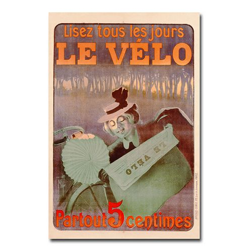 """Le Velo, 1899"" 30"" x 47"" Canvas Art by Ferdinand Misti-Mifliez"