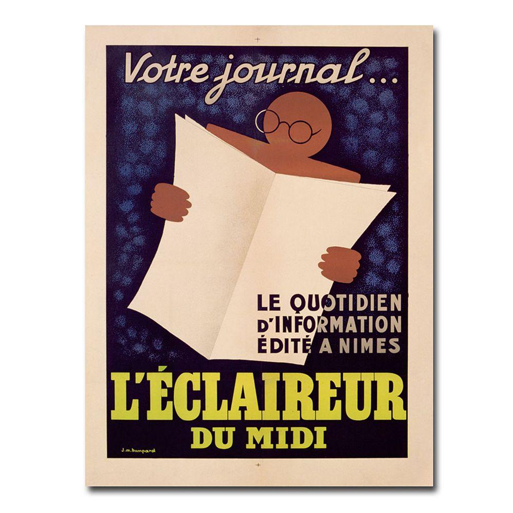 """""""L'Eclaireur du Midi, 1939"""" 18"""" x 24"""" Canvas Art by JM Bompard"""