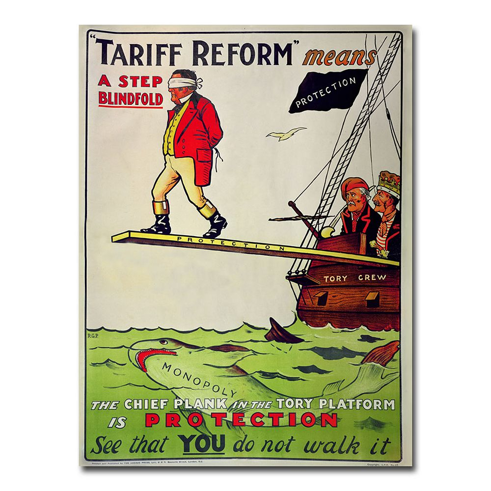 ''Tariff Reform Means a Step Blindfold, 1910'' 35'' x 47'' Canvas Art