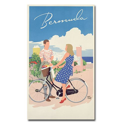 """Bermuda, 1956"" 18"" x 32"" Canvas Art by Adolph Treidler"
