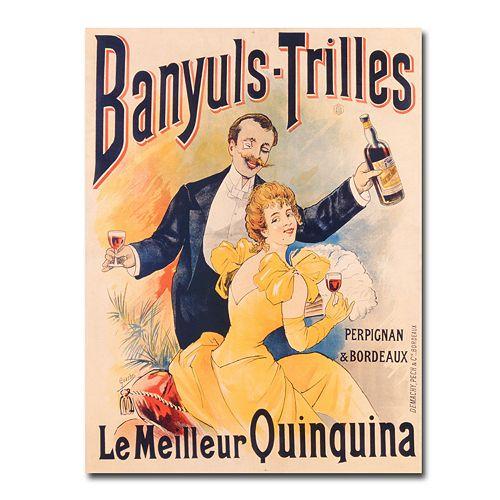 """""""Banyuls-Trilles Quinquina, 1898"""" 24"""" x 32"""" Canvas Art"""