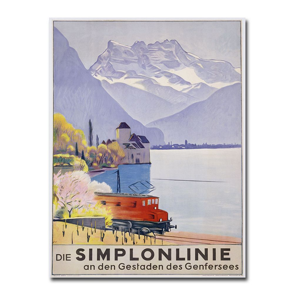 """Die Simplonlinie"" 18"" x 24"" Canvas Art by Emil Cardinaux"