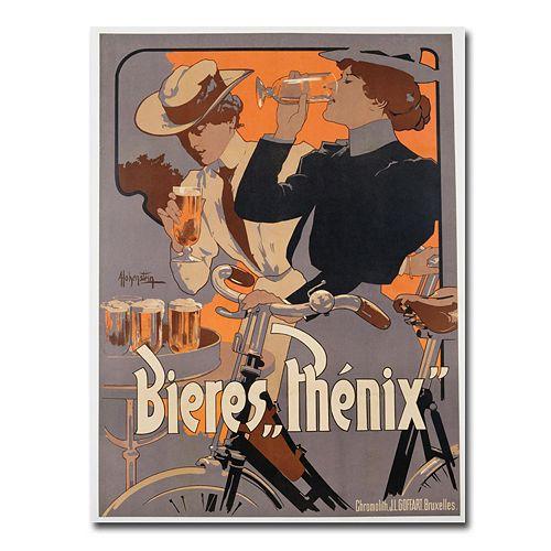 """""""Phoenix Beer, 1899"""" 35"""" x 47"""" Canvas Art by Adolf Hohenstein"""